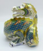 A Royal Crown Derby Dragon of Good Fortune paperweight, limited edition 11 of 1500, gold stopper,
