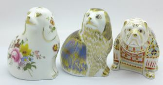 Three Royal Crown Derby paperweights, Derby Posie Spaniel, limited edition 499 of 1500, Bulldog with