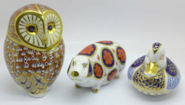 Three Royal Crown Derby paperweights, Sow, Duck with silver stopper and Barn Owl with silver