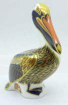 A Royal Crown Derby Hadleigh Brown Pelican paperweight, 20th Anniversary, limited edition of 500,