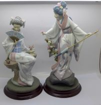 Two Lladro figures of Geisha girls on stands