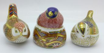 Three Royal Crown Derby paperweights, Nesting Bullfinch, Derby Wren and Firecrest (Collectors