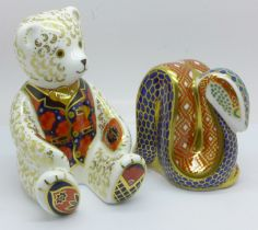 A Royal Crown Derby Debonair Bear paperweight, silver stopper (Collectors Guild), boxed and a