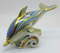 A Royal Crown Derby striped dolphin paperweight, limited edition 63 of 1500, gold stopper, Gold