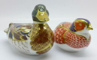 Two Royal Crown Derby paperweights, Pheasant and Mallard with gold stopper, boxed