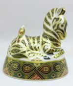 A Royal Crown Derby large Zebra paperweight, silver stopper