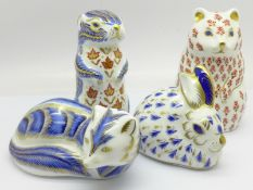 Four Royal Crown Derby paperweights, Hamster with silver stopper, Pine Marten, Rabbit with gold