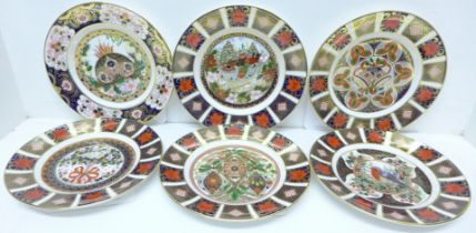 Six Royal Crown Derby Old Imari limited edition Christmas plates, 1984, 1993, 1994, 1995, 1996 and