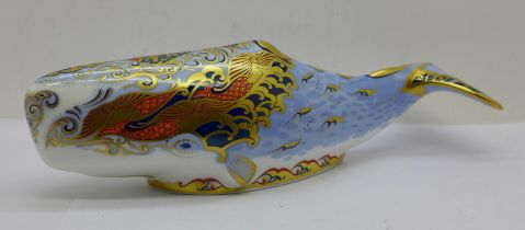 A Royal Crown Derby paperweight, Collectors Guild Exclusive Oceanic Whale with gold stopper, boxed