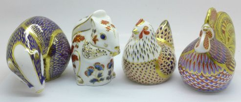 Four Royal Crown Derby paperweights, Chicken, Cockerel with gold stopper, Squirrel and Badger, all