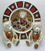A Royal Crown Derby Red Bow Tie and Blue Bow Tie Teddy paperweights, Red Bow Tie 138 of 950,