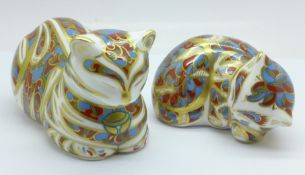 Two Royal Crown Derby Cat paperweights, both with silver stoppers