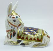 A Royal Crown Derby Thistle Donkey paperweight, limited edition 1124 of 1500, with gold stopper,
