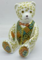 A Royal Crown Derby The Regal Goldie Bear paperweight, 146 of 1000, gold stopper, boxed and with