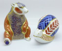 A Royal Crown Derby Honey Bear paperweight with silver stopper and a Royal Crown Derby Snail