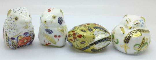 Four Royal Crown Derby paperweights, Poppy Mouse, Country Mouse, Sleeping Dormouse and Harvest