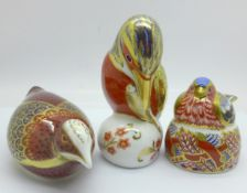 Three Royal Crown Derby paperweights, Nesting Chaffinch (Collectors Club), Kingfisher with silver