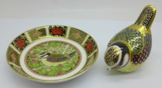 A Royal Crown Derby Blue Tit paperweight with silver stopper, and matching 1998 Blue Tit tray signed
