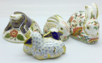 Four Royal Crown Derby paperweights, Twin Lambs and Meadow Rabbit with gold stopper, boxed, and