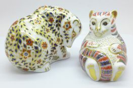 Two Royal Crown Derby paperweights, Tiger Cub and Russian Bear with silver stopper, boxed