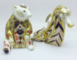 A Royal Crown Derby Imari Honey Bear paperweight with silver stopper, boxed, and a Royal Crown Derby