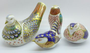 Four Royal Crown Derby paperweights, Millennium Dove, 811 of 1500, gold stopper, Blue Tit, silver