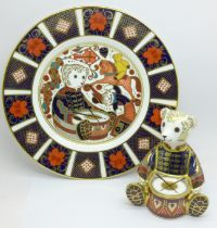 A Royal Crown Derby Drummer Teddy paperweight, Govier's of Sidmouth, 125 of 1500, silver stopper,