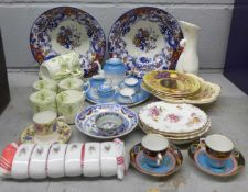 A collection of china including Aynsley side plates, Royal Crown Derby side plates, oriental bowls