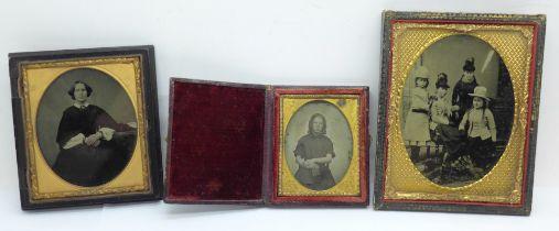 Three Ambrotype framed photographs