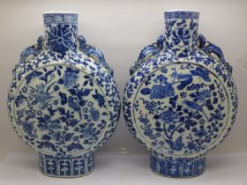 A pair of Chinese moon flasks, one a/f, 26.5cm