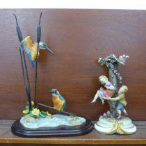 A Kingfisher ornamental display and a Neapolitan figure