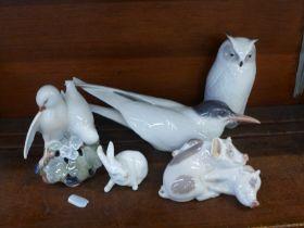A Royal Copenhagen owl, rabbit, pigs, tern and doves, (owl, pigs, tern and doves a/f)