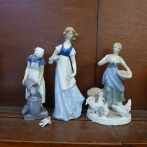 Three Danish figures of girls, two a/f including Bing & Grondahl figure of the lady with milk pail
