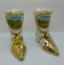 Two china boots with Nottingham scenes, 12cm