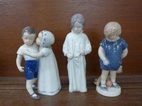 Two Royal Copenhagen and one other Danish Bing & Grondahl figure of children, Bing & Grondahl a/f