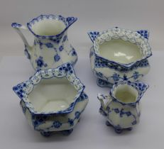 Four pieces of Royal Copenhagen, two pierced bowls and two jugs, small jug a/f