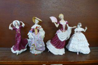 Four figures; Royal Worcester The Fairest Rose, Franklin Mint Vienna Waltz, V&A and Royal Dux