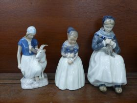 Two Royal Copenhagen figures of Dutch girls and one other Danish Bing & Grondahl figure of a girl