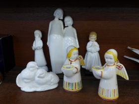 Four Royal Doulton figures and a pair of Danish figural candle holders, (largest figure a/f)