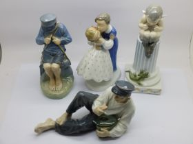Two Royal Copenhagen figures of Dutch boys, a figure of a pixie (ear a/f) and a B&G figure of a