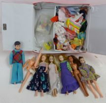A collection of dolls and clothing in a Pippa case, some a/f