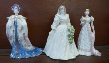 Three limited edition Coalport figures, Diana, Princess of Wales, Princess Turandot and Empress