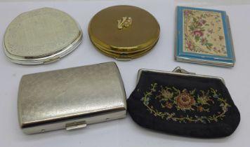 Three compacts, purse and a cigarette box