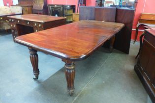 An early Victorian mahogany extending dining table, a/f
