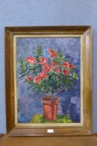 M.P. Williams (modern British School), still life of flowers in a pot, oil on board, 60 x 44cms,