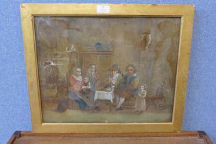 English School (mid 17th Century), interior scene with Quakers or Plymouth Brethren, reverse oil
