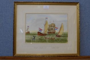 English School (19th Century), Dutch Wailers 1705, Whale Sails, watercolour, indistinctly signed and