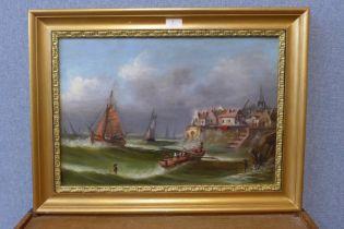 M. Howlett, ships in stormy seas off the coast, oil on canvas, 37 x 53cms, framed