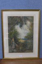 Fred Hines (1875-1928), summer rural landscape with a gleaner by a stream, 55 x 38cms, watercolour