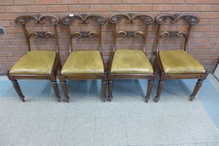 A set of four George IV mahogany dining chairs, manner of Gillows, Lancaster